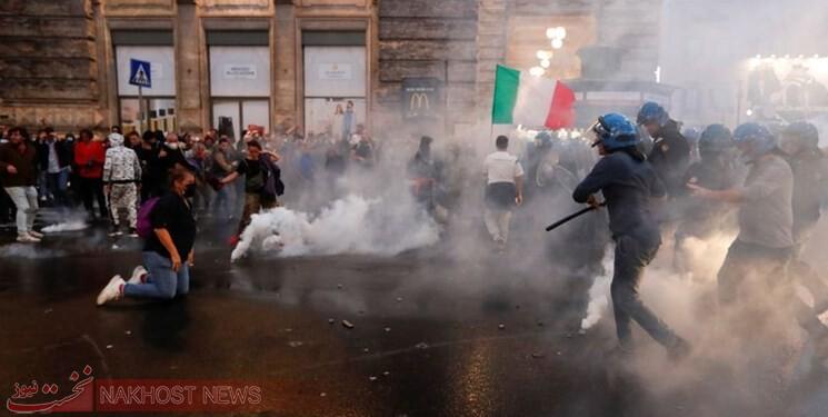 توپ آبپاش و گاز اشکآور، پاسخ پلیس ایتالیا به معترضان به سیاستهای کرونایی